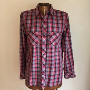 Levi's Red Plaid Women's Western Button Up